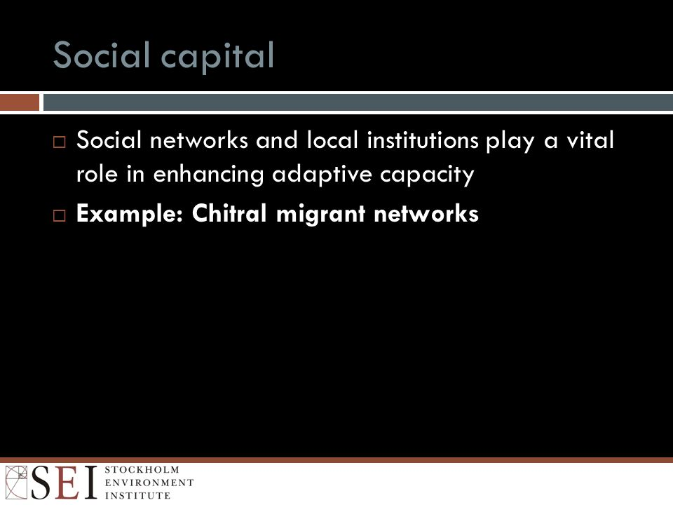 Social capital Social networks and local institutions play a vital role in enhancing adaptive capacity Example: Chitral migrant networks