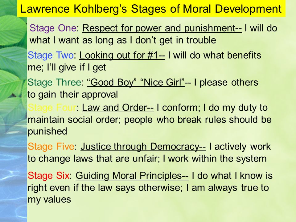 Lawrence Kohlbergs Stages of Moral Development Stage One: Respect for power and punishment-- I will do what I want as long as I dont get in trouble St