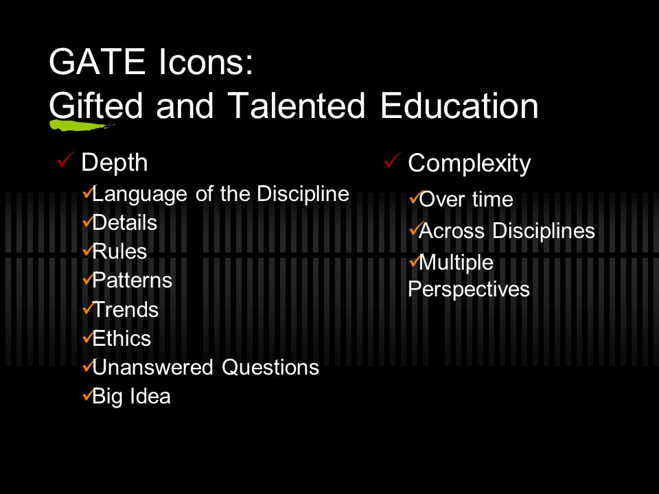 GATE Icons: Gifted and Talented Education Depth Language of the Discipline Details Rules Patterns Trends Ethics Unanswered Questions Big Idea Complexi