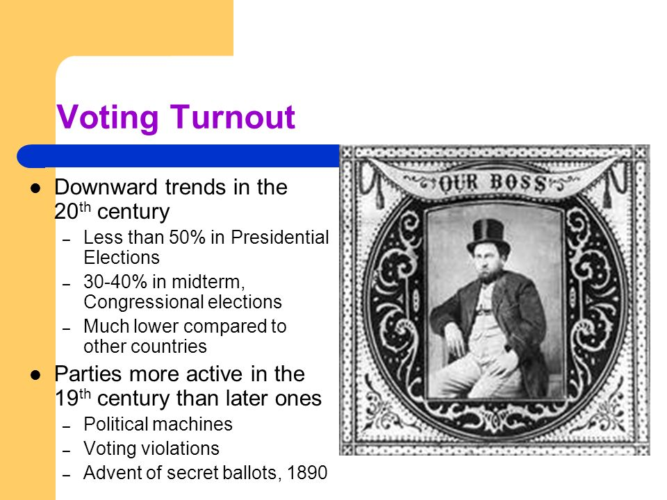 Voting Turnout Downward trends in the 20 th century – Less than 50% in Presidential Elections – 30-40% in midterm, Congressional elections – Much lowe