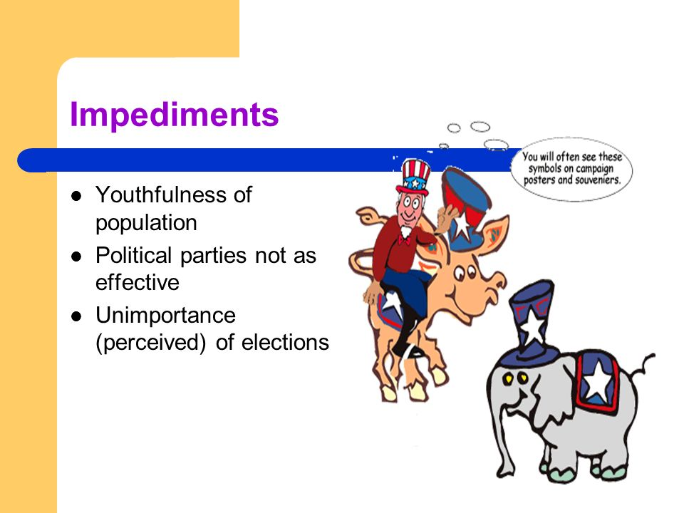 Impediments Youthfulness of population Political parties not as effective Unimportance (perceived) of elections