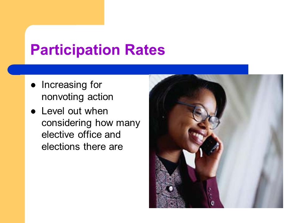 Participation Rates Increasing for nonvoting action Level out when considering how many elective office and elections there are