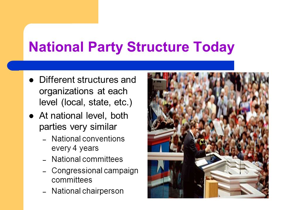 National Party Structure Today Different structures and organizations at each level (local, state, etc.) At national level, both parties very similar