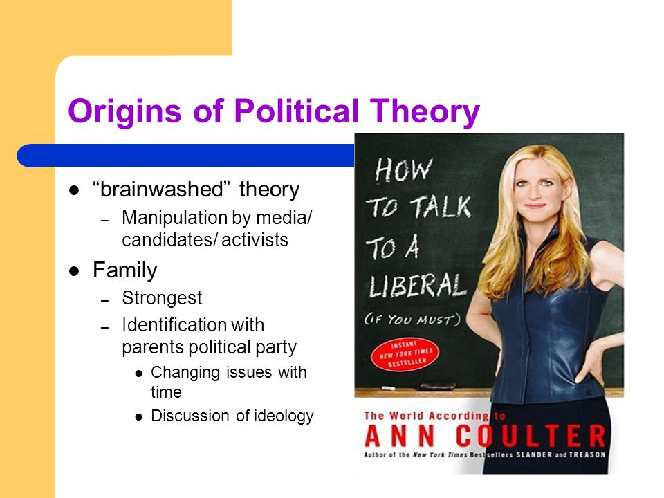 Origins of Political Theory brainwashed theory – Manipulation by media/ candidates/ activists Family – Strongest – Identification with parents politic