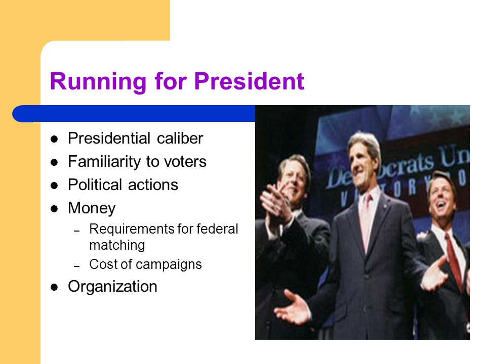 Running for President Presidential caliber Familiarity to voters Political actions Money – Requirements for federal matching – Cost of campaigns Organ
