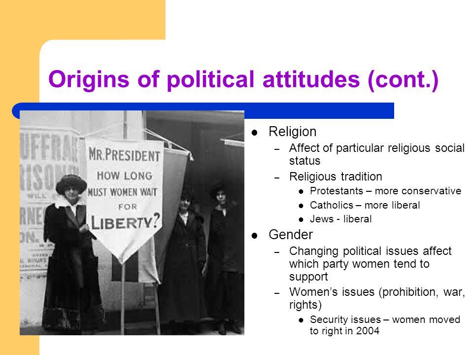 Origins of political attitudes (cont.) Religion – Affect of particular religious social status – Religious tradition Protestants – more conservative C