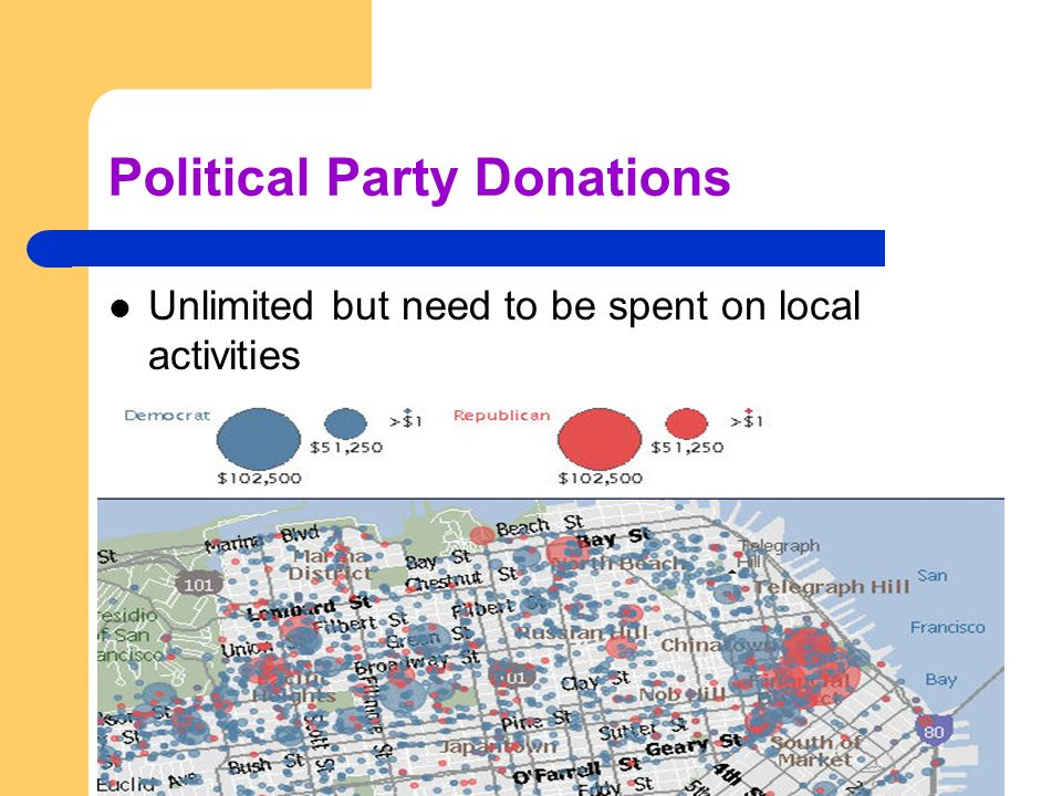 Political Party Donations Unlimited but need to be spent on local activities