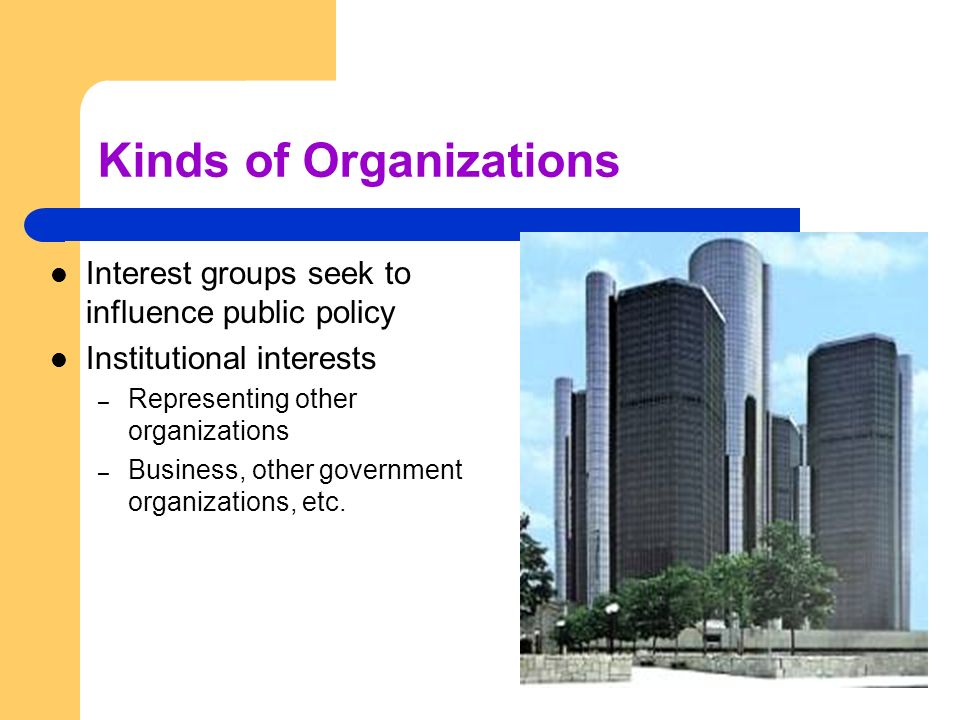 Kinds of Organizations Interest groups seek to influence public policy Institutional interests – Representing other organizations – Business, other go