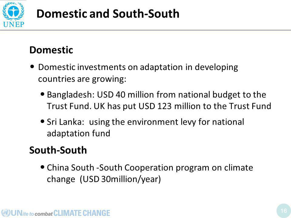 16 Domestic and South-South Domestic Domestic investments on adaptation in developing countries are growing: Bangladesh: USD 40 million from national budget to the Trust Fund.