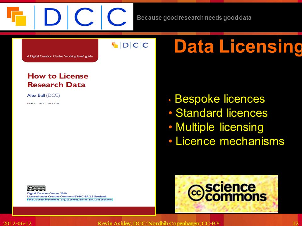 Because good research needs good data 2012-06-12Kevin Ashley, DCC; Nordbib Copenhagen; CC-BY12 Data Licensing Bespoke licences Standard licences Multiple licensing Licence mechanisms