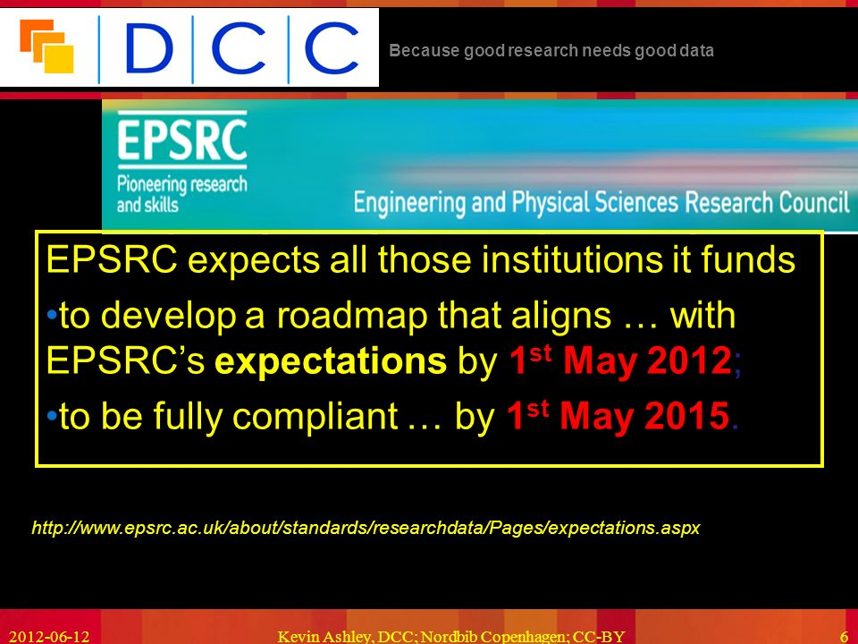 Because good research needs good data Kevin Ashley, DCC; Nordbib Copenhagen; CC-BY6   EPSRC expects all those institutions it funds to develop a roadmap that aligns … with EPSRCs expectations by 1 st May 2012; to be fully compliant … by 1 st May 2015.