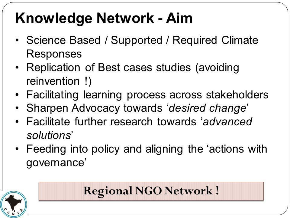 Knowledge Network - Aim Science Based / Supported / Required Climate Responses Replication of Best cases studies (avoiding reinvention !) Facilitating