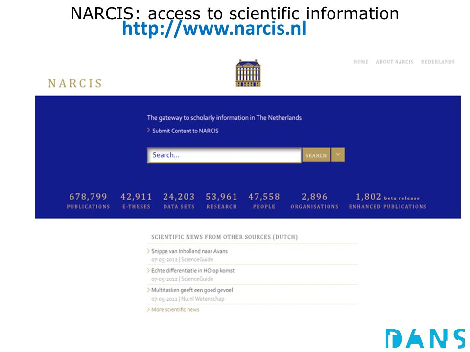 NARCIS: access to scientific information http://www.narcis.nl