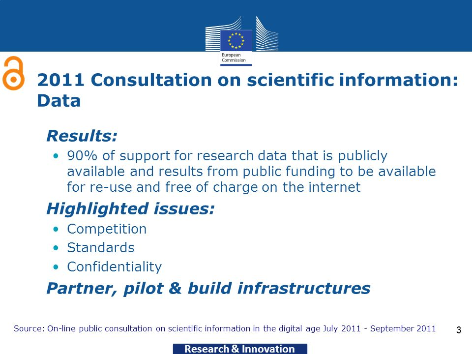 Research & Innovation 3 2011 Consultation on scientific information: Data Results: 90% of support for research data that is publicly available and res