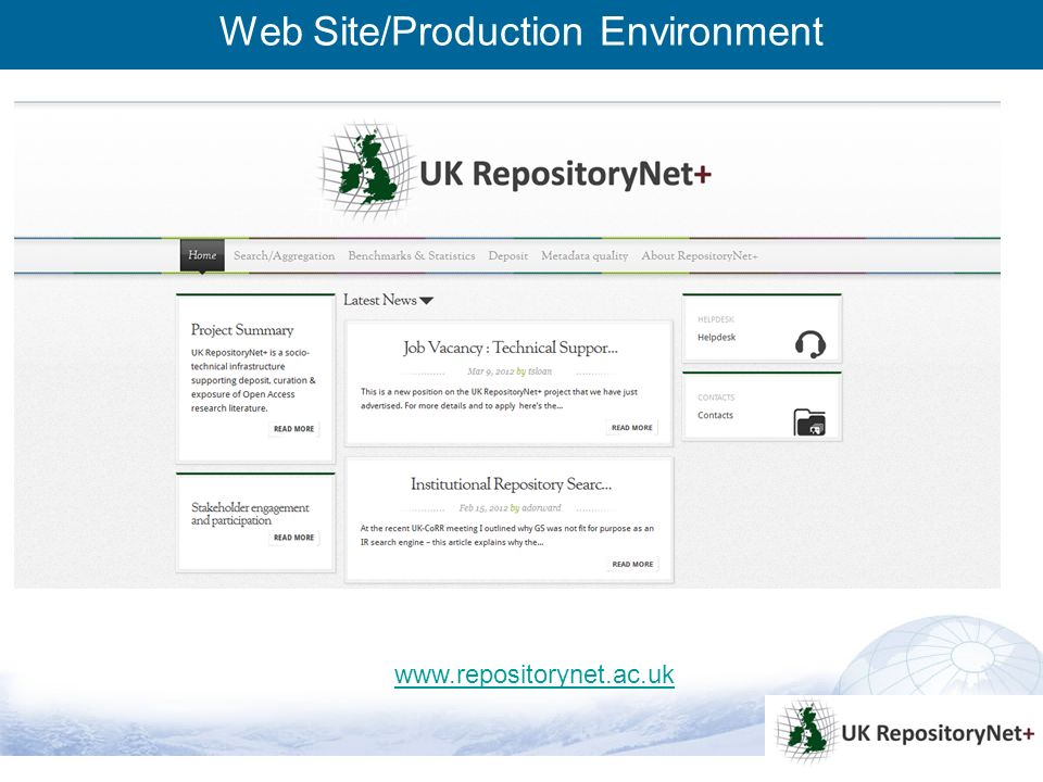 3 Web Site/Production Environment www.repositorynet.ac.uk