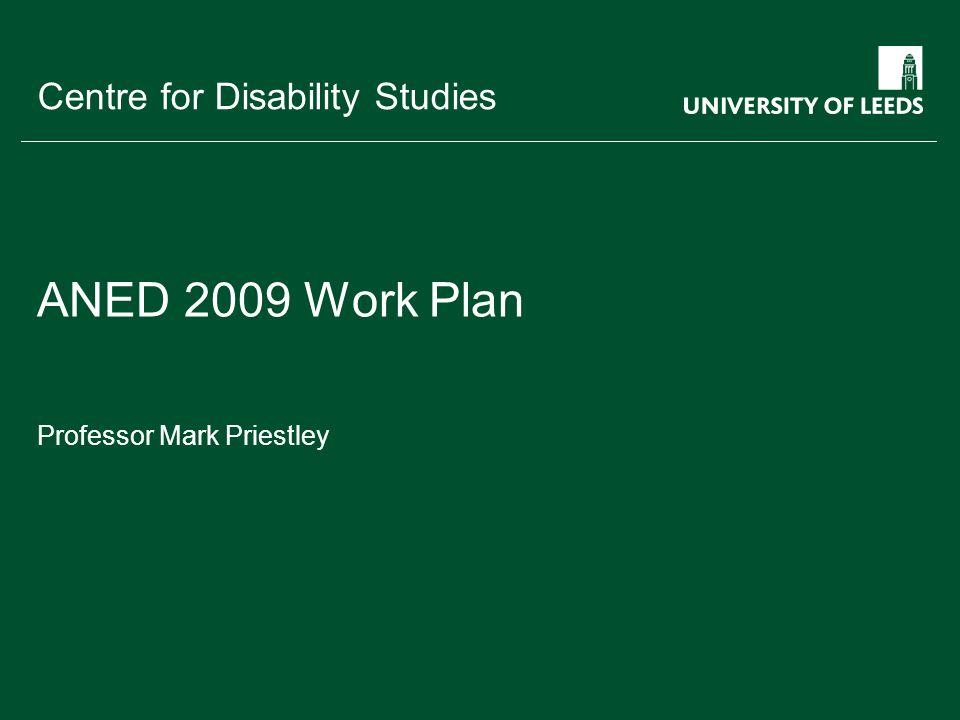 School of something FACULTY OF OTHER Centre for Disability Studies ANED 2009 Work Plan Professor Mark Priestley