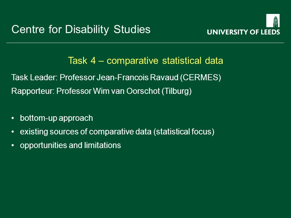 School of something FACULTY OF OTHER Centre for Disability Studies Task Leader: Anna Lawson (Leeds) top-down approach framework of the UN Convention working methods and indicators used in monitoring Task 5 – UN Convention and monitoring methods