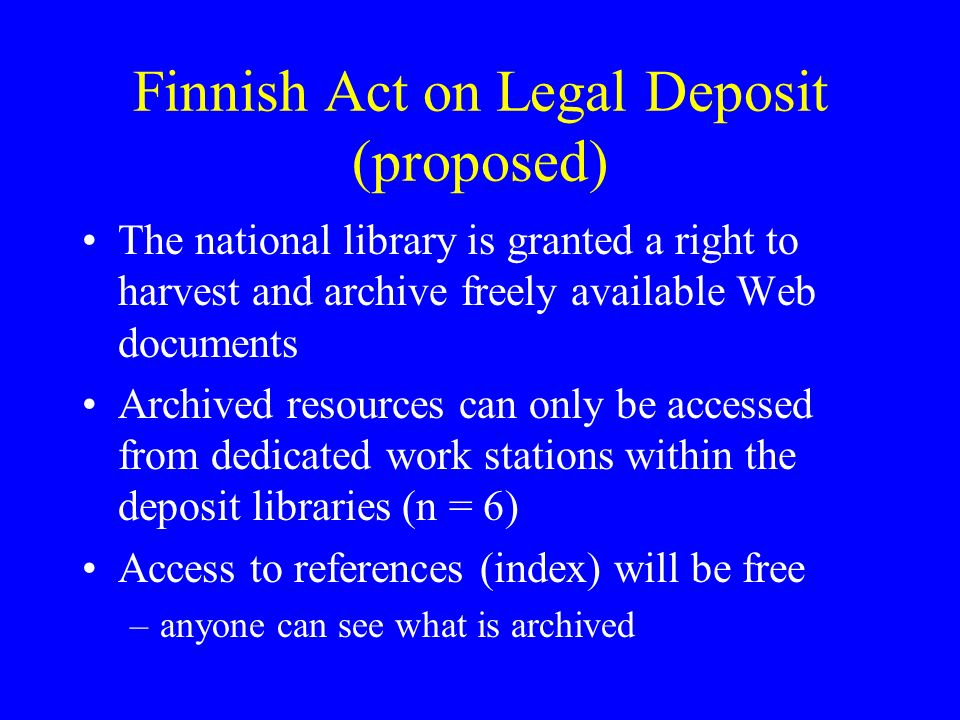 Functional issues libraries traditional methods do not fit too well to electronic materials –manual cataloguing can not be done to million documents new, automated means must be developed for acquisition, storage and indexing of electronic publications –this work is well under way