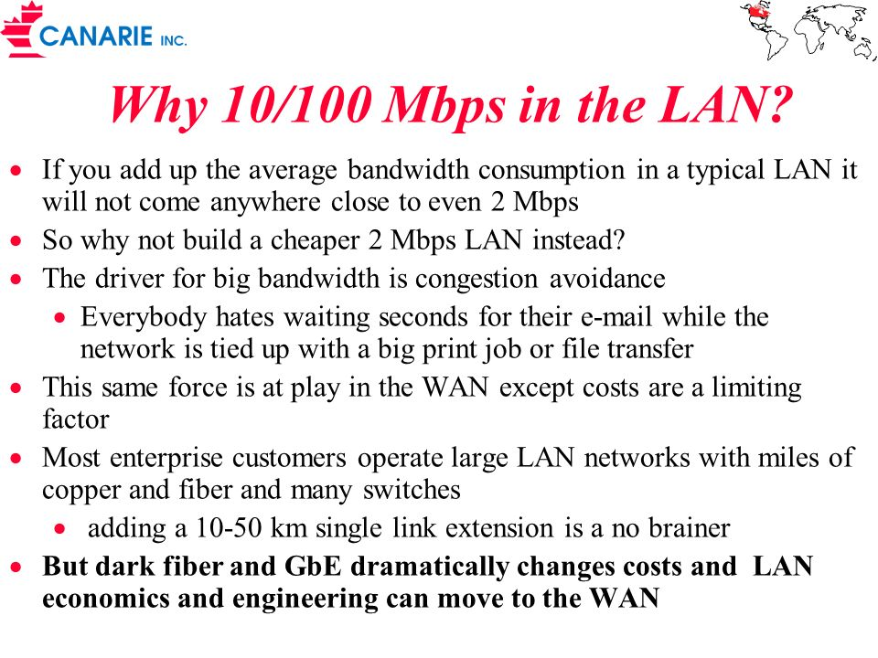Why 10/100 Mbps in the LAN? If you add up the average bandwidth consumption in a typical LAN it will not come anywhere close to even 2 Mbps So why not