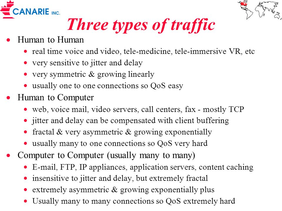 Three types of traffic Human to Human real time voice and video, tele-medicine, tele-immersive VR, etc very sensitive to jitter and delay very symmetr