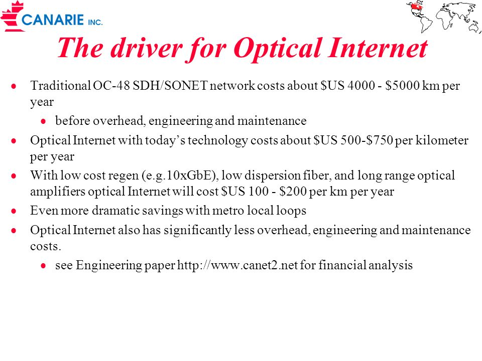 The driver for Optical Internet Traditional OC-48 SDH/SONET network costs about $US 4000 - $5000 km per year before overhead, engineering and maintena