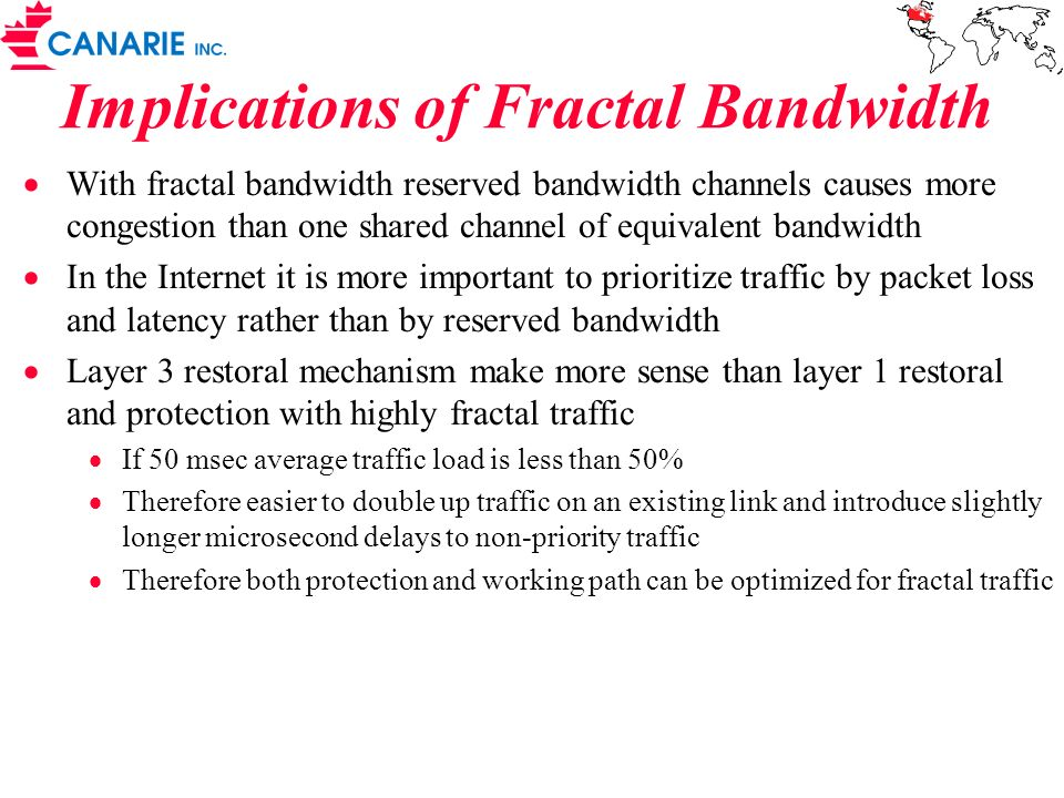 Implications of Fractal Bandwidth With fractal bandwidth reserved bandwidth channels causes more congestion than one shared channel of equivalent band