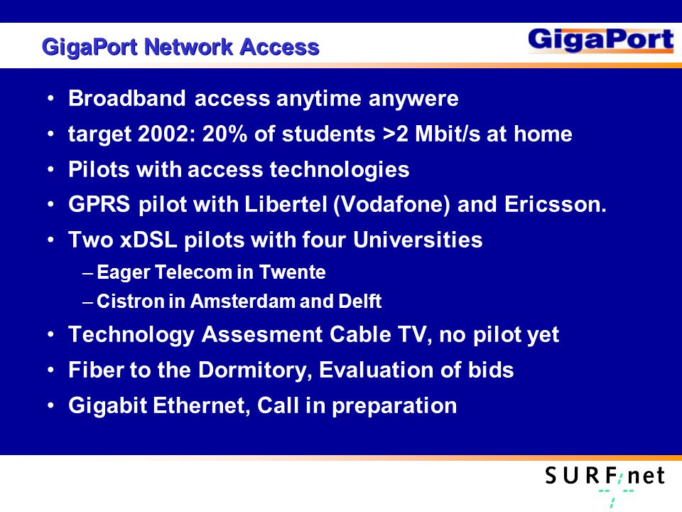 GigaPort Network Access Broadband access anytime anywere target 2002: 20% of students >2 Mbit/s at home Pilots with access technologies GPRS pilot with Libertel (Vodafone) and Ericsson.