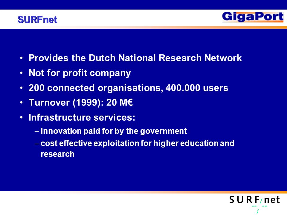 SURFnet Provides the Dutch National Research Network Not for profit company 200 connected organisations, 400.000 users Turnover (1999): 20 M Infrastructure services: –innovation paid for by the government –cost effective exploitation for higher education and research