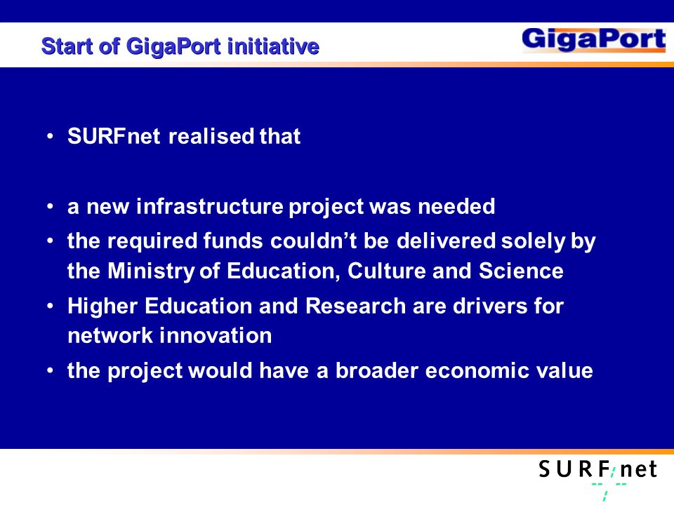 Start of GigaPort initiative SURFnet realised that a new infrastructure project was needed the required funds couldnt be delivered solely by the Ministry of Education, Culture and Science Higher Education and Research are drivers for network innovation the project would have a broader economic value