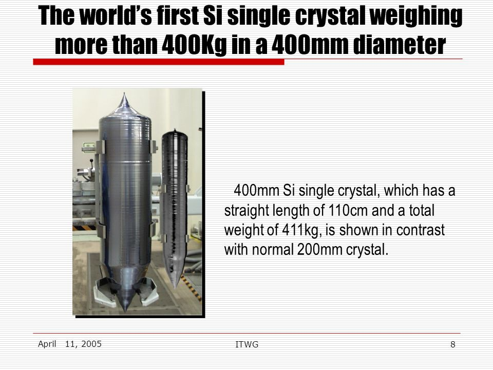 April 11, 2005 ITWG8 The worlds first Si single crystal weighing more than 400Kg in a 400mm diameter 400mm Si single crystal, which has a straight length of 110cm and a total weight of 411kg, is shown in contrast with normal 200mm crystal.