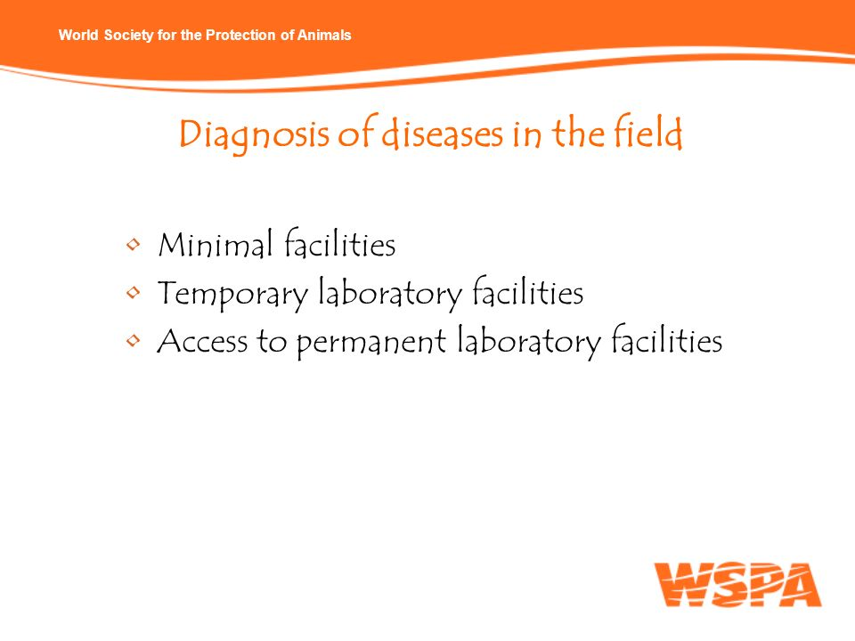 World Society for the Protection of Animals Diagnosis of diseases in the field Minimal facilities Temporary laboratory facilities Access to permanent