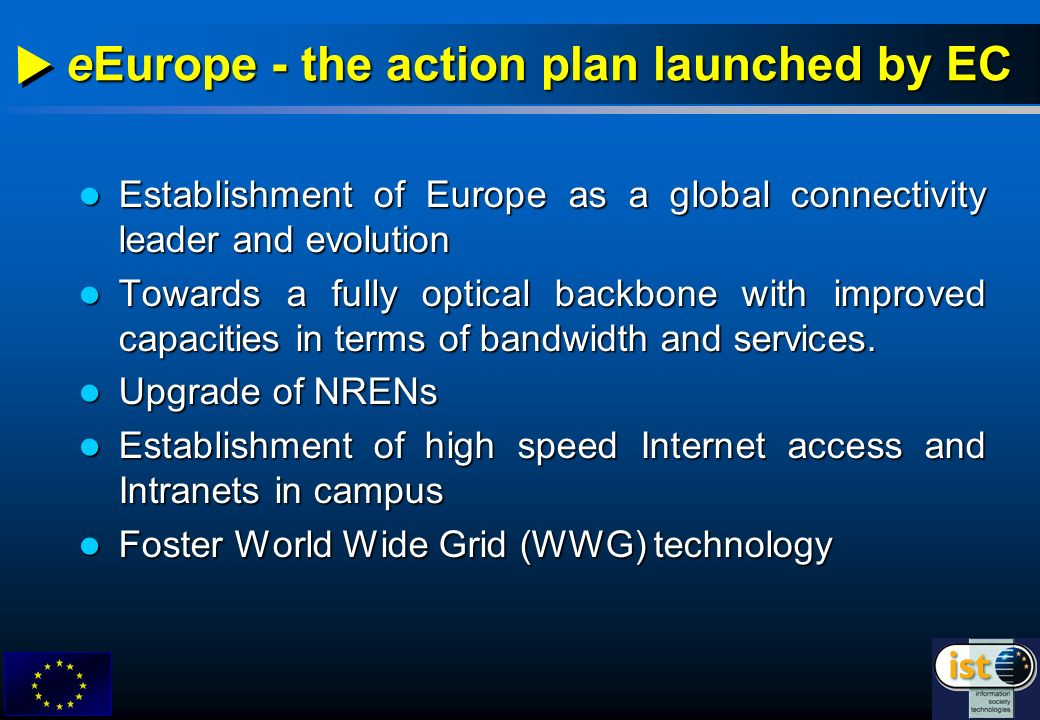 Establishment of Europe as a global connectivity leader and evolution Establishment of Europe as a global connectivity leader and evolution Towards a fully optical backbone with improved capacities in terms of bandwidth and services.
