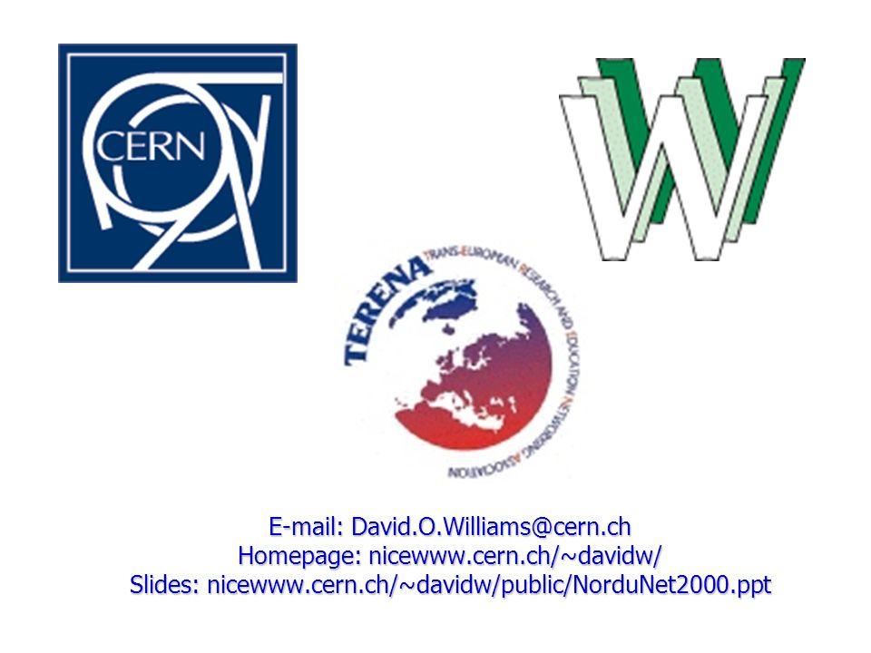 E-mail: David.O.Williams@cern.ch Homepage: nicewww.cern.ch/~davidw/ Slides: nicewww.cern.ch/~davidw/public/NorduNet2000.ppt