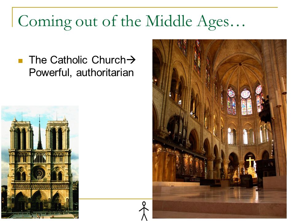Coming out of the Middle Ages… The Catholic Church Powerful, authoritarian