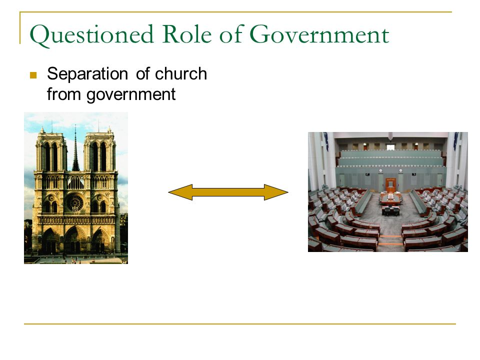 Questioned Role of Government Separation of church from government