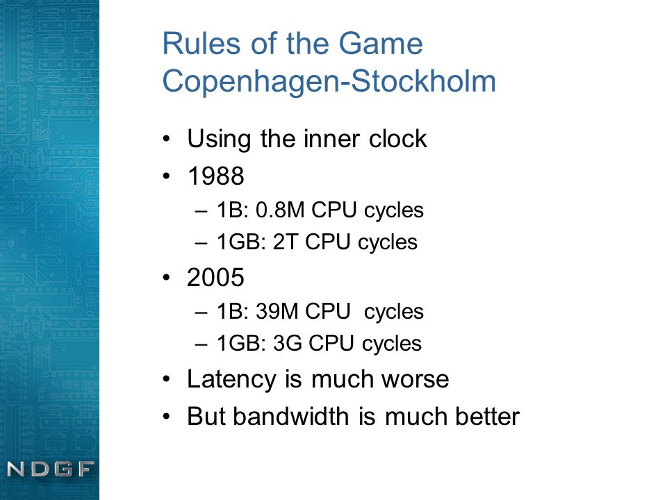 Rules of the Game Copenhagen-Stockholm Using the inner clock 1988 –1B: 0.8M CPU cycles –1GB: 2T CPU cycles 2005 –1B: 39M CPU cycles –1GB: 3G CPU cycle