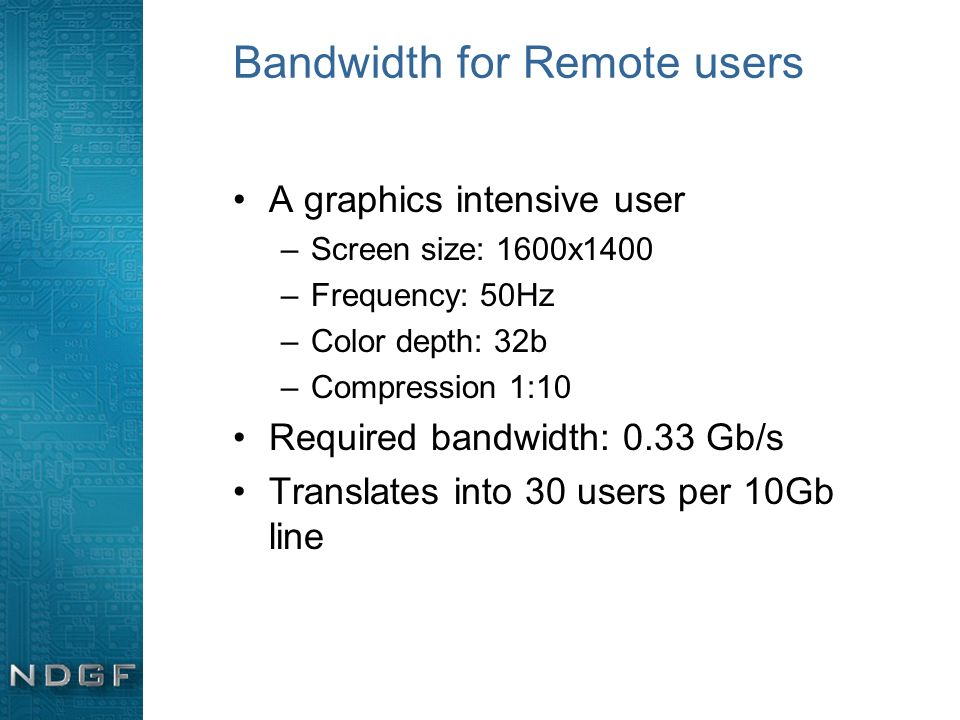 Bandwidth for Remote users A graphics intensive user –Screen size: 1600x1400 –Frequency: 50Hz –Color depth: 32b –Compression 1:10 Required bandwidth: