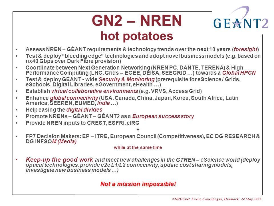 NORDUnet Event, Copenhagen, Denmark, 24 May 2005 GN2 – NREN hot potatoes Assess NREN – GÉANT requirements & technology trends over the next 10 years (foresight) Test & deploy bleeding edge technologies and adopt novel business models (e.g.