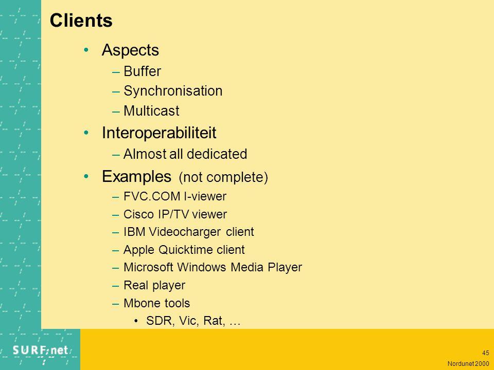 44 Nordunet 2000 Servers Aspects –storage –media pump –network (bandwidth) –on-demand vs. live –asset management ! Examples (not complete !!) –Archite