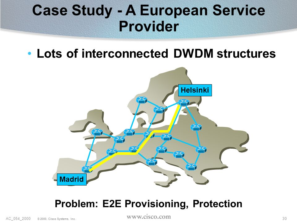 30AC_054_2000 © 2000, Cisco Systems, Inc. Case Study - A European Service Provider Problem: E2E Provisioning, Protection Lots of interconnected DWDM s