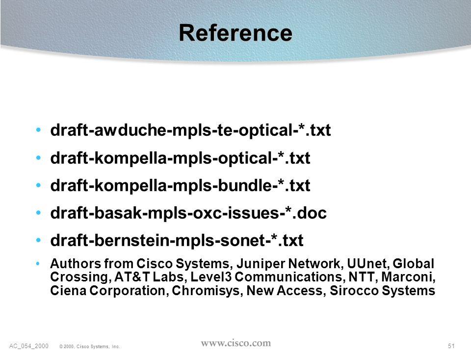 51AC_054_2000 © 2000, Cisco Systems, Inc. Reference draft-awduche-mpls-te-optical-*.txt draft-kompella-mpls-optical-*.txt draft-kompella-mpls-bundle-*