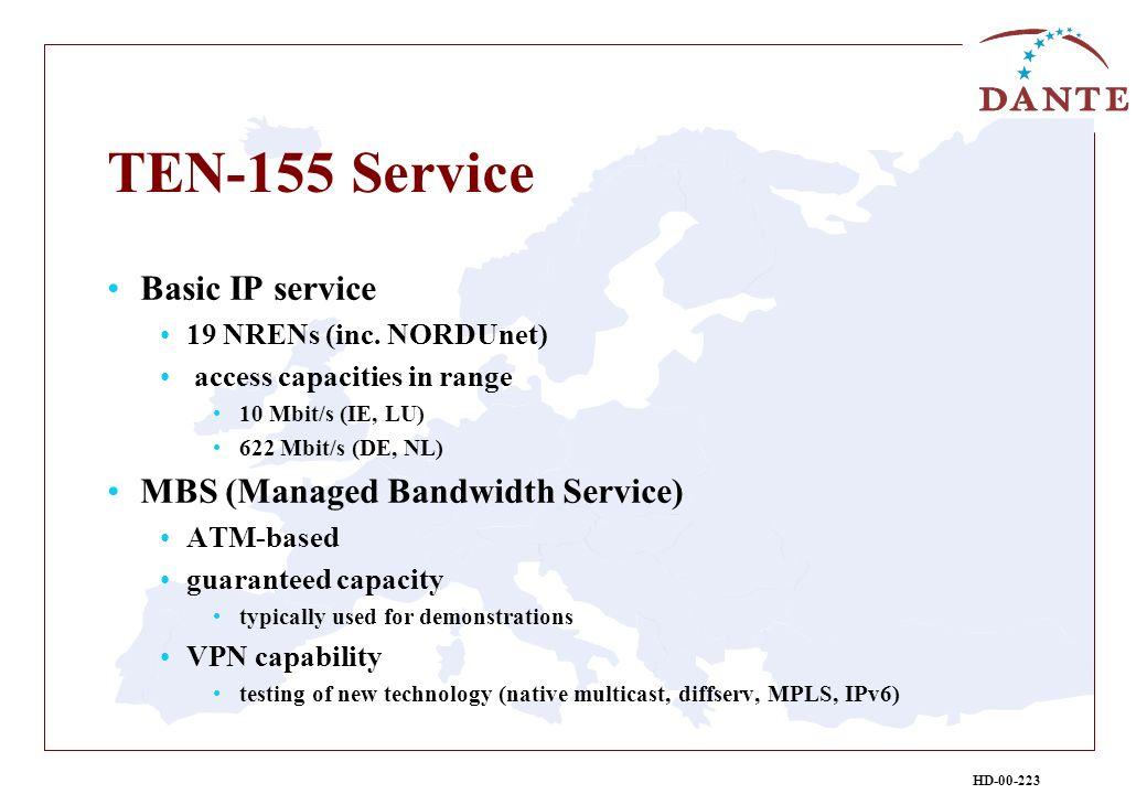 HD-00-223 TEN-155 Service Basic IP service 19 NRENs (inc. NORDUnet) access capacities in range 10 Mbit/s (IE, LU) 622 Mbit/s (DE, NL) MBS (Managed Ban