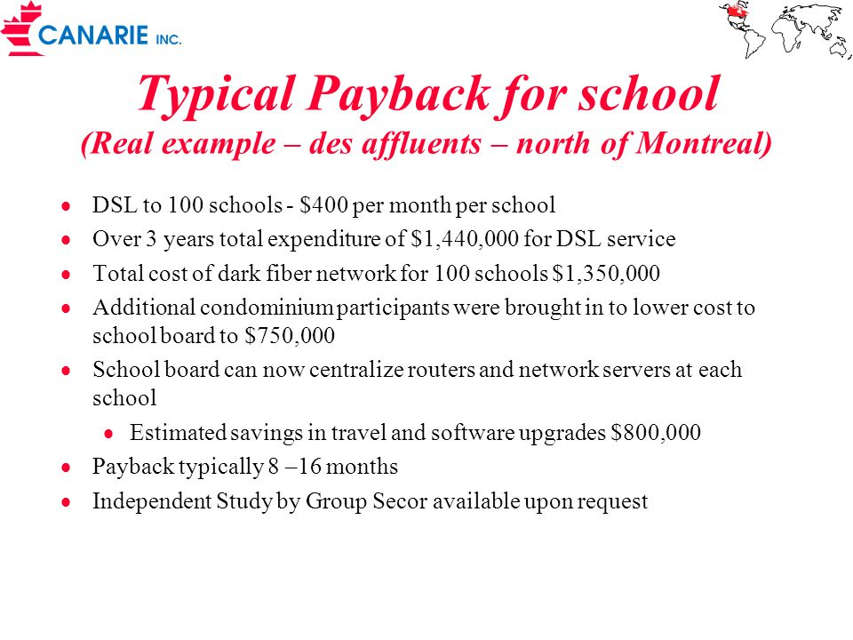 Typical Payback for school (Real example – des affluents – north of Montreal) DSL to 100 schools - $400 per month per school Over 3 years total expenditure of $1,440,000 for DSL service Total cost of dark fiber network for 100 schools $1,350,000 Additional condominium participants were brought in to lower cost to school board to $750,000 School board can now centralize routers and network servers at each school Estimated savings in travel and software upgrades $800,000 Payback typically 8 –16 months Independent Study by Group Secor available upon request