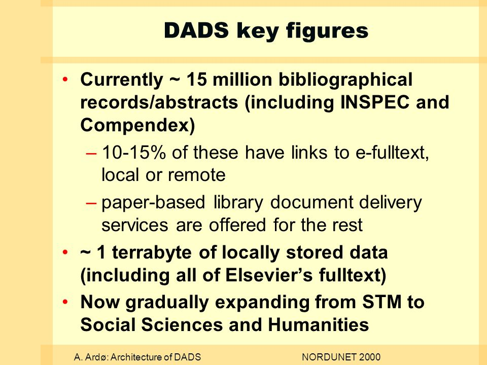 A. Ardø: Architecture of DADSNORDUNET 2000 DADS key figures Currently ~ 15 million bibliographical records/abstracts (including INSPEC and Compendex)