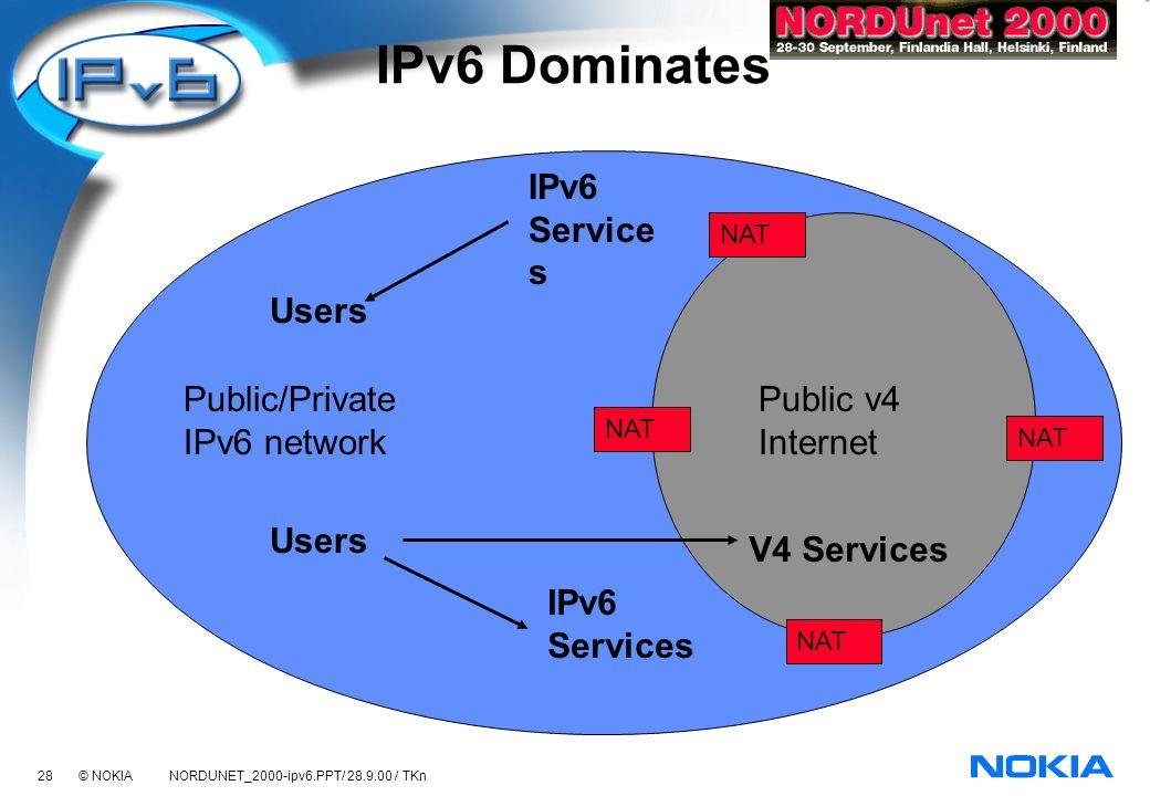 28 © NOKIA NORDUNET_2000-ipv6.PPT/ 28.9.00 / TKn IPv6 Dominates Users V4 Services Public/Private IPv6 network Public v4 Internet IPv6 Services Users NAT