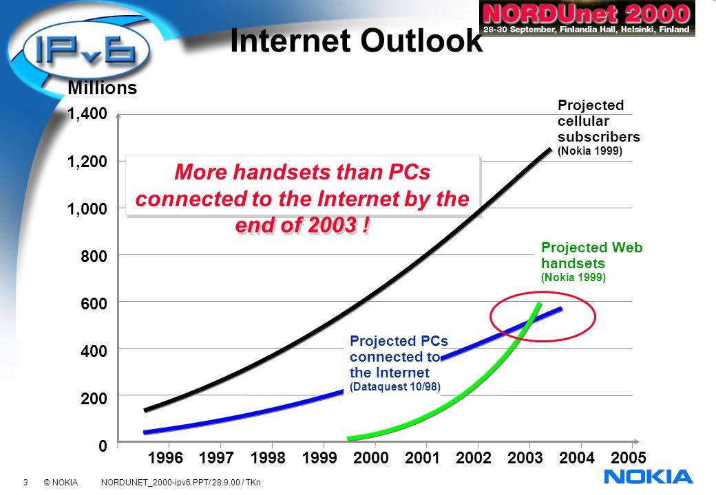 4 © NOKIA NORDUNET_2000-ipv6.PPT/ 28.9.00 / TKn 19992000 Mobile Internet will be always-on 20022001 Sessions / Month / cellular sub (leading markets) Usage Mobile Web (WAP) Fixed Web WAP GPRS IPv6 Optimizing radio capacity usage Scaling up address space