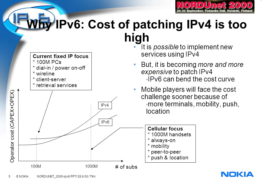 36 © NOKIA NORDUNET_2000-ipv6.PPT/ 28.9.00 / TKn Mobile IPv6 development Future Internet is largely wireless/mobile IPv6 needed for billions of wireless devices Mobile IPv6 meets mobility requirements better than mobile IPv4 Current mobile IP (v4 or v6) specifications are not alone sufficient to construct a network that offers VoIP type of services (real time requirements, no packet loss) with mobile nodes changing their point of attachment frequently.