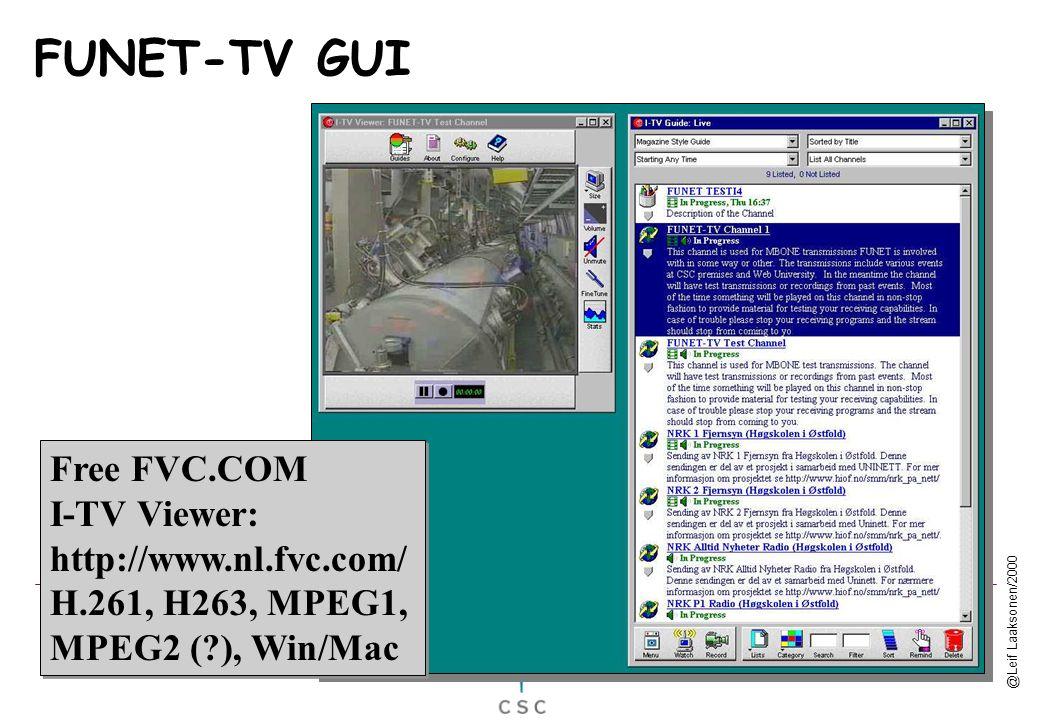 @Leif Laaksonen/2000 Free FVC.COM I-TV Viewer: http://www.nl.fvc.com/ H.261, H263, MPEG1, MPEG2 (?), Win/Mac Free FVC.COM I-TV Viewer: http://www.nl.f