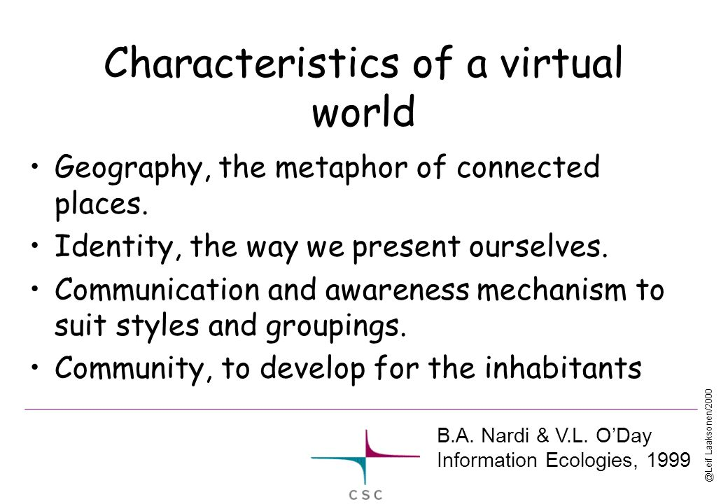 @Leif Laaksonen/2000 Characteristics of a virtual world Geography, the metaphor of connected places. Identity, the way we present ourselves. Communica