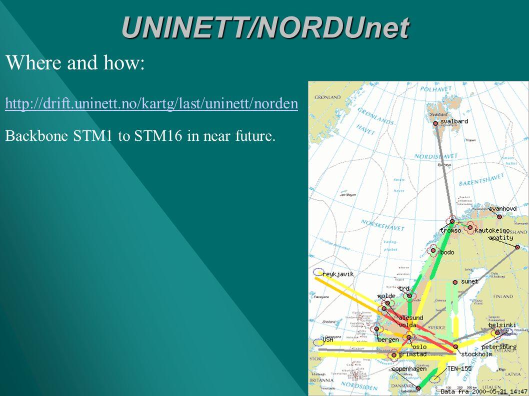 UNINETT/NORDUnet Where and how: http://drift.uninett.no/kartg/last/uninett/norden Backbone STM1 to STM16 in near future.